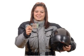 Motorcyclist woman